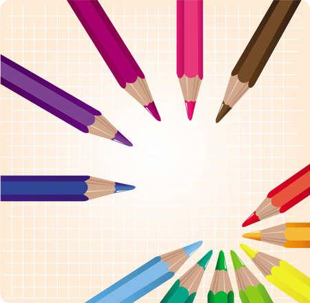 Set of twelve colored pencils Illustration