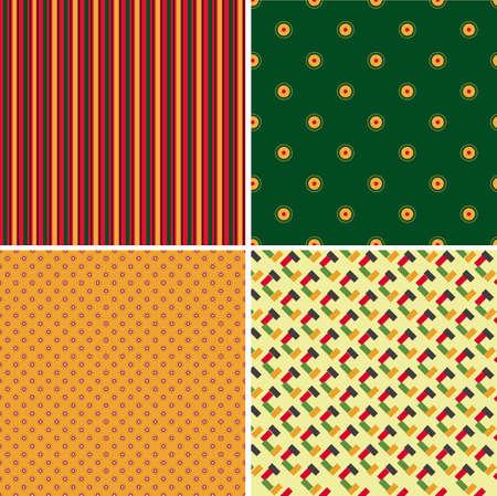 Set of four patterns, vector illustration