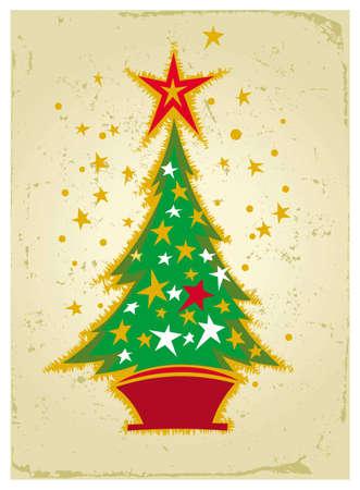 illustration of Christmas card with Christmas tree