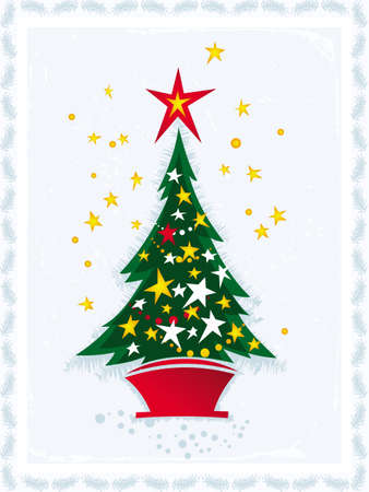 illustration of Christmas tree on blue background Illustration