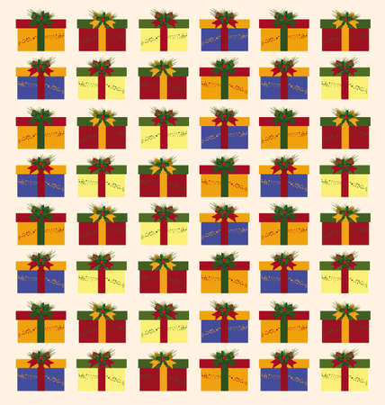 Christmas pattern with boxes, ribbon and green sprays Illustration
