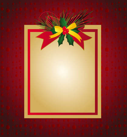 illustration of Christmas card with ribbons