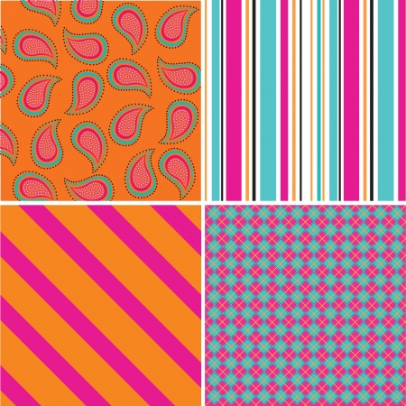 A set of four coloured seamless patterns  Vector illustration