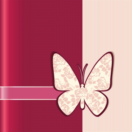 Vector illustration of Valentine love card with butterfly and flowers