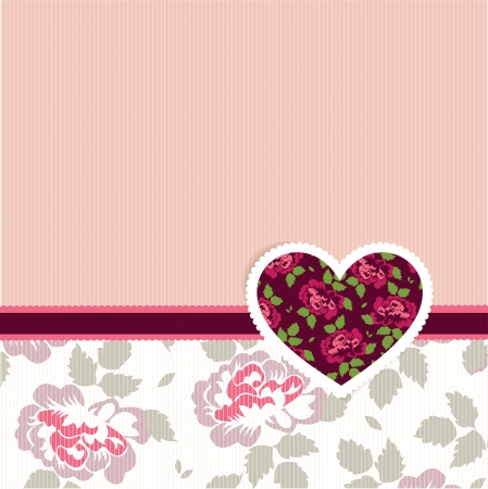 Vector illustration of Valentine love card with heart of flowers