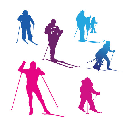Winter sport silhouette skiing competition people