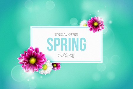 Spring sale background with beautiful colorful flower. Vector illustration template.