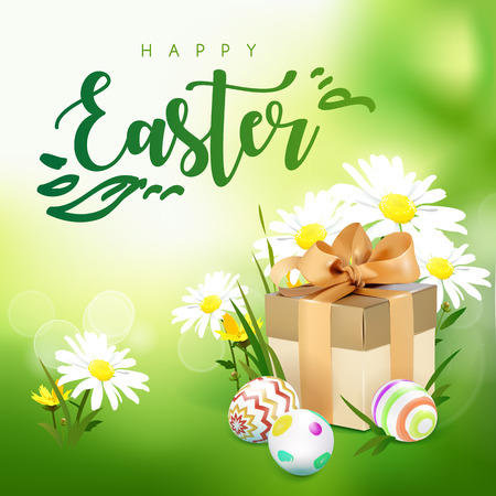 brushed: Green template vector card with realistic eggs, gift box and wild flowers. Green spring background with bokeh effect. Handwriting inscription Easter. Lettering, calligraphy. 3D.