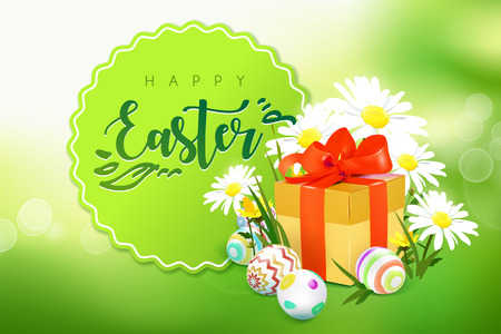 Green template vector card with realistic eggs, gift box and wild flowers. Green spring background with bokeh effect. Handwriting inscription Easter. Lettering, calligraphy. 3D.