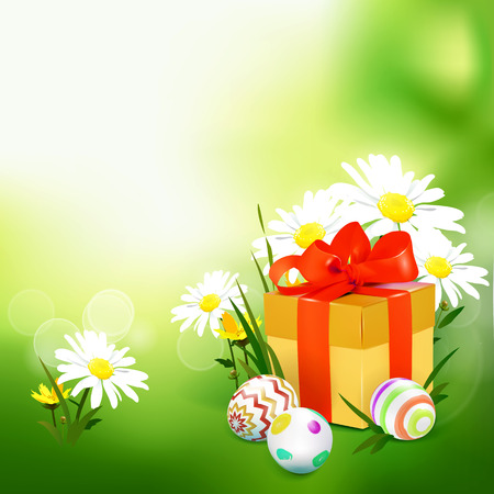 Green template  card with realistic eggs, gift box and flowers.