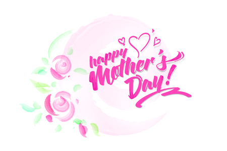Happy Mothers Day watercolore stile card with pink roses. Hand-drawn Lettering. Vector illustration. Illustration