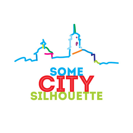 City skyline silhouette. Modern interpritation of classical architectural view. Vivid coloristic. Vector illustration. Icon for travel agency.