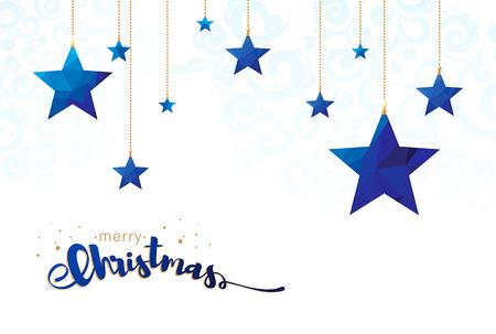 Lage poly vrolijke Kerstmissterren vectorillustratie