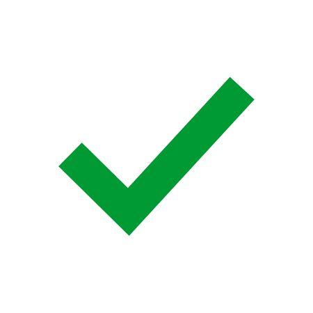 Green check mark icon. Tick symbol in green color, vector illustration. Confirm signe Illusztráció