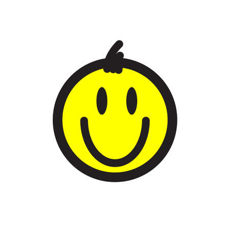 Smiley. Vector happy face with funny bangs