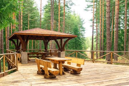 gazebo: Tourist gazebo for relaxing in the forest