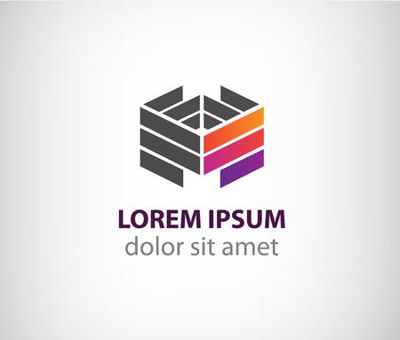 logotipo de construccion: vector 3d construcción geométrica de colores de fondo para la compañía, la identidad