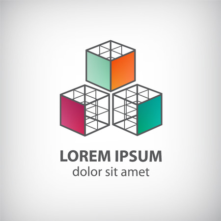 vector abstract cube construction made of 3 icon for company isolated