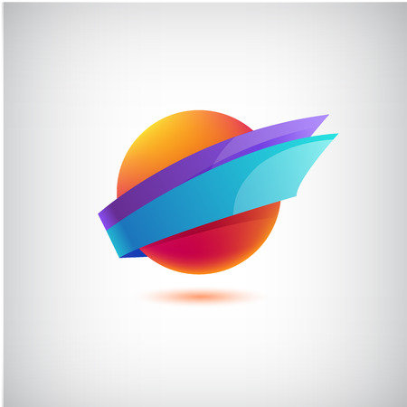 travel logo: vector abstract colorful round dynamic icon,