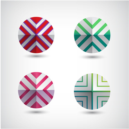 vector set of abstract round decorated icons Vector