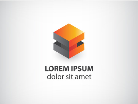 vector 3d orange and grey abstract cube logo isolated Vector
