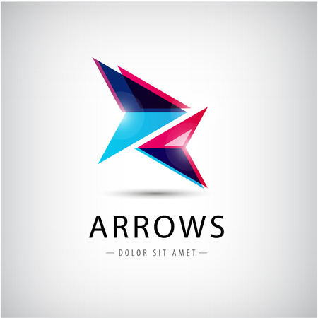 vector abstract 2 arrows icon, business icon Illustration