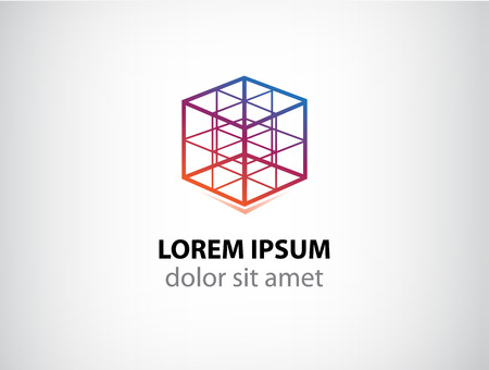vector cube construction icon for your company
