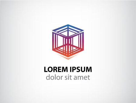 abstractive: vector cube construction icon for your company, abstract logo for company Illustration