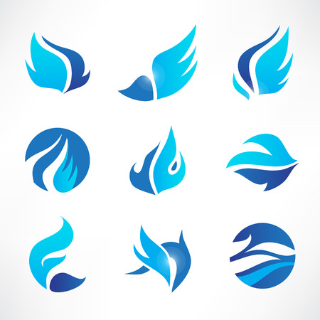 wings vector: vector set of abstract blue wings, flow, water icons