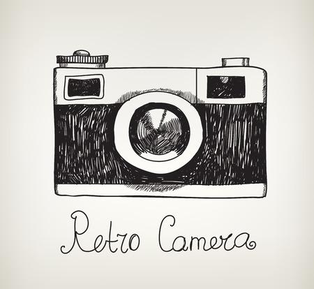 objeto: aislado mano vector retro cámara dibujado foto inconformista Vectores