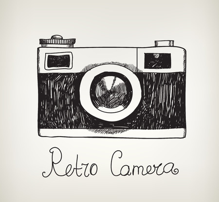 vector retro hand drawn hipster photo camera isolated Çizim