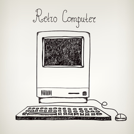old pc: vector hand drawn doodle retro computer isolated