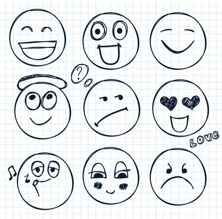 vector conjunto de rostros dibujados a mano, estados de ánimo aislado Ilustración de vector
