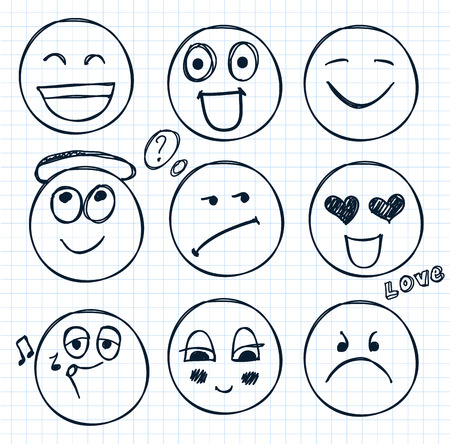 happy black people: vector set of hand drawn faces, moods isolated