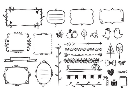 calligraphic: vector floral decor set of hand drawn doodle frames, dividers, borders, elements. Isolated