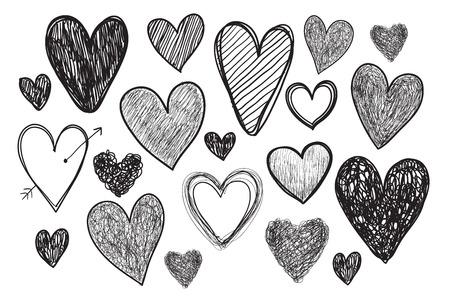 dessin coeur: ensemble de vecteur de coeurs de griffonnage dessin�s � la main isol�