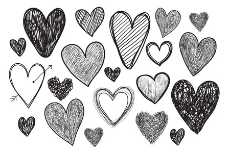 grunge shape: vector set of hand drawn doodle hearts isolated