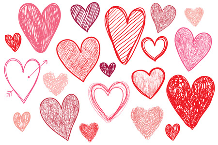 set of hand drawn doodle hearts isolated