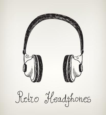 earphones: hand drawn vintage, retro headphones, earphones isolated