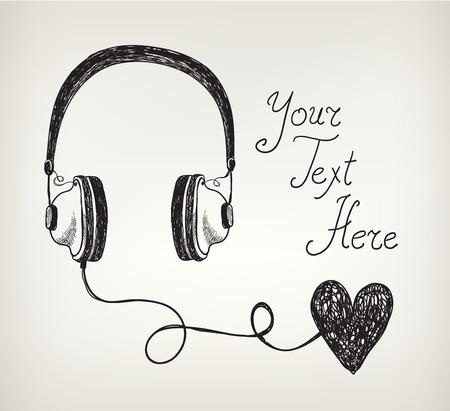headphones: retro hand drawn doodle headphones, earphones with heart.