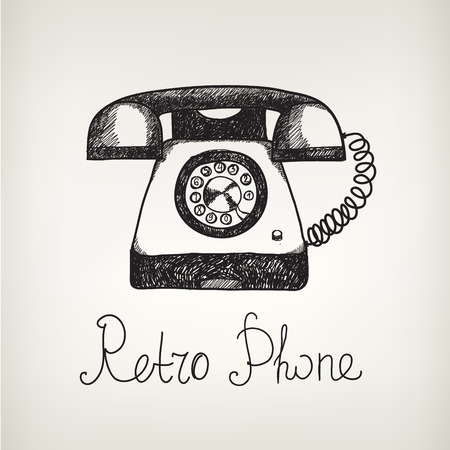 the phone rings: hand drawn doodle retro phone. Illustration