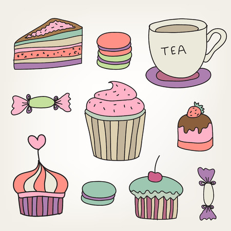 pf: set of cute colorful hand drawn sweets, cakes, cup pf tea, macaroons, etc. Illustration