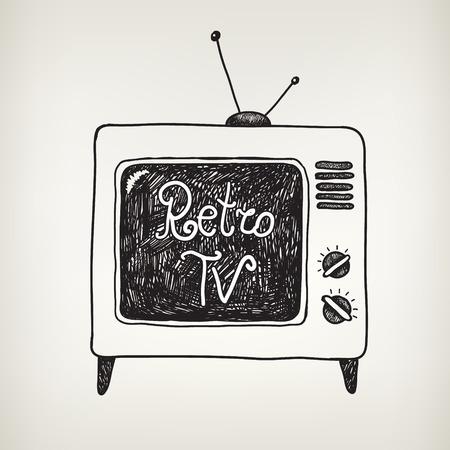 hand drawn doodle retro, vintage tv isolated 일러스트