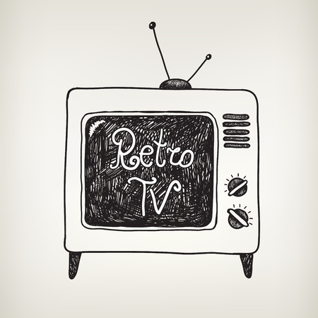 television: hand drawn doodle retro, vintage tv isolated Illustration