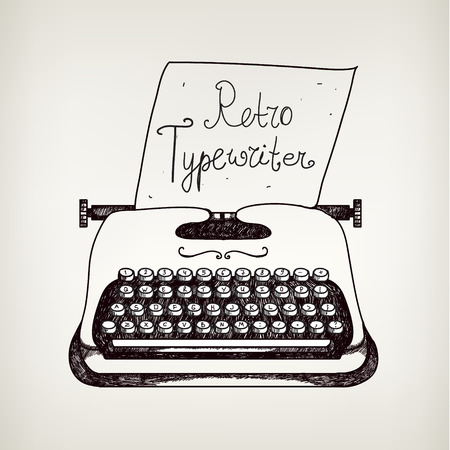 40s: hand drawn doodle retro black ans white typewriter with paper. Illustration