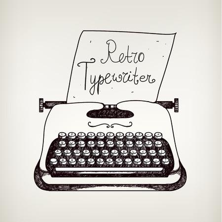 mano doodle retro ans negro máquina de escribir con papel blanco. Vectores