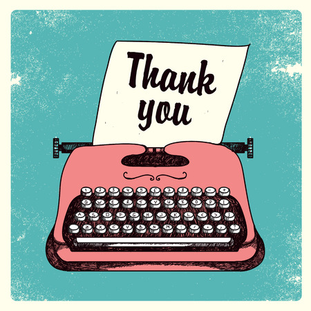 writer: retro typing writer with paper, thank you card