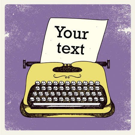 typewriter machine: retro typing writer with paper card, put your text