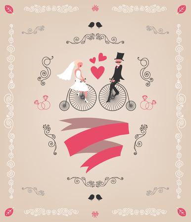 tandem: vintage retro wedding invitation