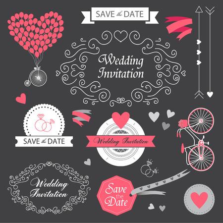vector set wedding vintage hand drawn invitation, card design elements on the blackboard